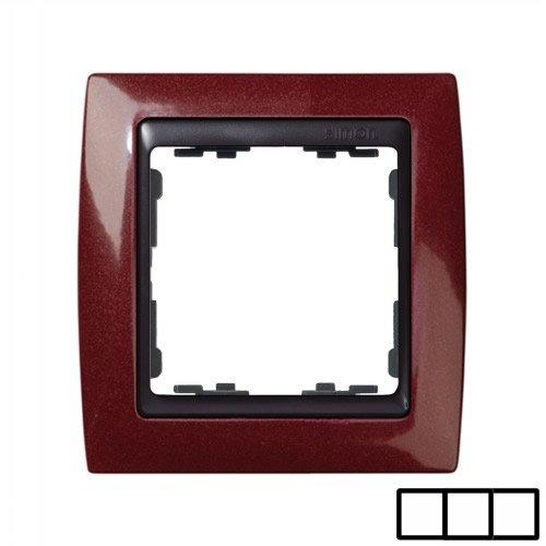 SIMON 82834-37-Rahmen 3Elem. Bordeaux Metaliz/Zoc. Graphit
