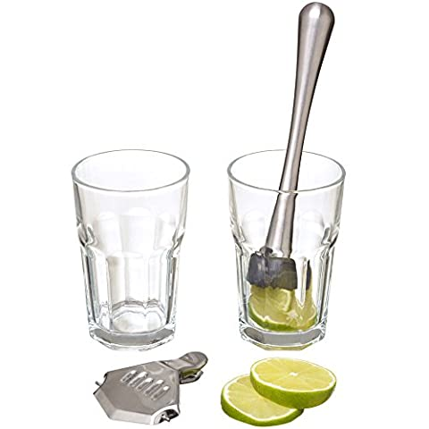 Set Cocktail Mojito 2 verres 1 pilon et 1 presse-citron