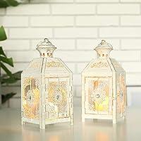 JHY DESIGN Set de 2 Tardes Decorativas Linterna Colgante de Estilo Vintage de 23 cm de Alto, candelabro de Metal para Interiores al Aire Libre, Eventos, Fiestas y Bodas (Blanco con Cepillo de Oro)