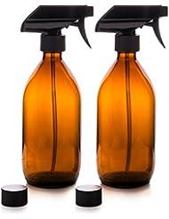 Flacons pulvérisateur - En verre - Ambré - Premium - 500 ml avec gâchette de pulvérisation fine Flacons réutilisables