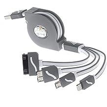 Cavo USB Retrattile, easytar multifunzione 4in 1universale cavo caricatore USB per iPhone 6s, 6s Plus, 5, 5S, 5C, 4S, iPad 4, iPad Mini, Galaxy S4, S5, S6(Nero)