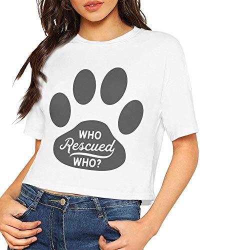 Frauen Coole Kurzarm-T-Shirts, die gerettet, die Hundeadoption Tierrettung gedruckt Nabel (Medium, weiß) (Outfit Is Orange New The Black)