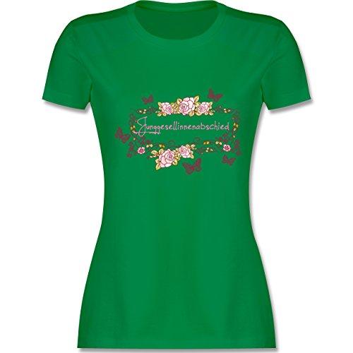 JGA Junggesellinnenabschied - Junggesellinnenabschied Schmetterlinge Blumen - tailliertes Premium T-Shirt mit Rundhalsausschnitt für Damen Grün