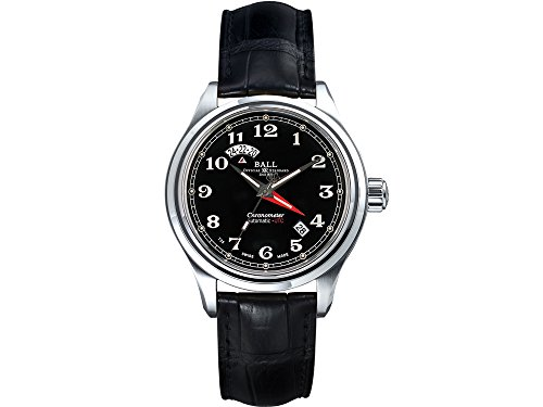 Ball Trainmaster Cleveland Express Dual T. Watch, Foldover Clasp, Crocodile COSC