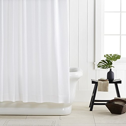 rohi-waffle-design-white-waterproof-shower-curtain-with-rings-liner-mold-and-mildew-free-180x180cm