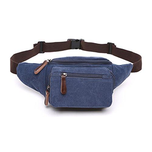 Outreo Marsupio Moda Borse da Viaggio Sport Bag Borsa da Uomo Tasca Outdoor Marsupi a Fascia Borsello Vintage Sacchetto per Escursioni Trekking Blu