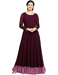 INDDUS Wine Georgette Flared Solid Long Maxi Dress for Women, Full Sleeve, Evening & Party Wear, Round Neck (Fully Stitched, Size-XXL).