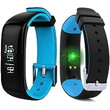 "ROGUCI 0.86 ""OLED Bluetooth Wearable Smartband, Impermeable IP67 pulsera pulsera inteligente, Monitor de presión arterial, Monitor de ritmo cardíaco,Azul"