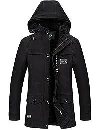 Zicac Manteau à Capuche Amovible en Coton Epaisseur Homme pour L`hiver