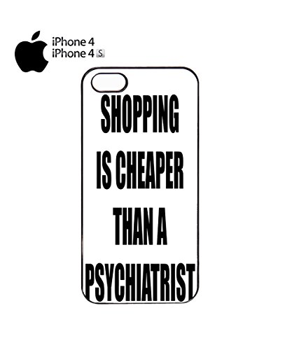 Shopping is Cheaper Funny Slogan Mobile Phone Case Back Cover Coque Housse Etui Noir Blanc pour for iPhone 6 White Noir