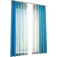 Yujiao Mao 2er Pack Verlauf Farben Muster Voile Gardinen Schal Vorhänge Mit  Kräuselband,