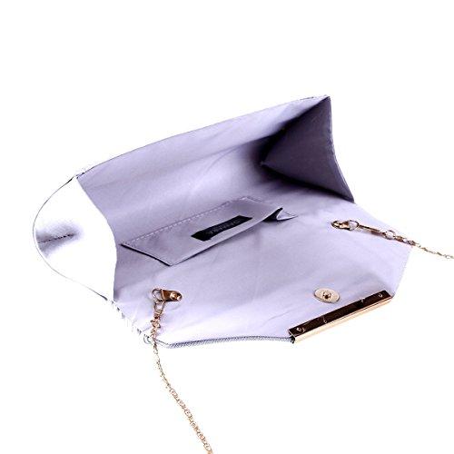 Damara® Soft Satin Damen Trendige Unterarmtaschen Mit Faltenwuf Silber