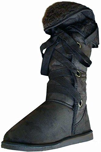 Doublée en fourrure pour femme Hauteur au genou Snug Nomad Bottes en 5 couleurs Black With Black Fur