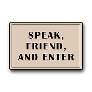 """Popular Simple """"SPEAK FRIEND AND ENTER"""" Doormats Non Slip Durable Machine-washable Home Indoors / Outdoors Doormat Mats"""