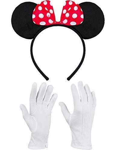Minnie Maus Kopf Kostüm - Balinco Haarreifen in schwarz mit Maus Ohren Mouse mit Schleife in rot mit weißen Punkten inklusive weiße Handschuhe für Kinder & Erwachsene