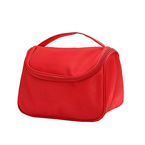 Romote Multifunctional Waterproof Handheld Travel Cosmetic Bag Nylon Toiletry Container Organizer Bag 1pcs Red