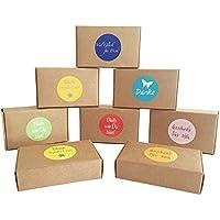 """'12cajas de regalo """"Natural Marrón para regalos pequeños, Candy de cajas, para galletas, Caramelos, decoración, cajas de regalo con 24netten Sprüche de pegatinas"""