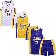 3 Pack -Children's Jersey - NBA Los Angeles Lakers #24 Kobe Bryant Basketball Jersey, T-Shirt Shorts Jerse