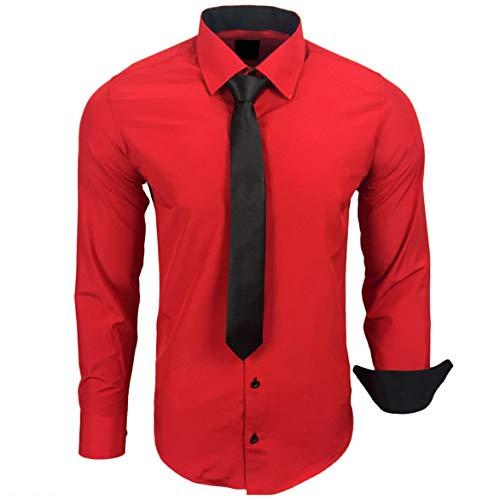 Baxboy 444-BK Herren Kontrast Hemd Business Hemden mit Krawatte Hochzeit Freizeit Fit, Größe:XL, Farbe:Rot