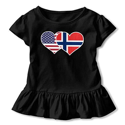 Toddler Baby Girl American Norway Flag Heart Funny Short Sleeve Ruffle T Shirt - American Heart Baby T-shirt