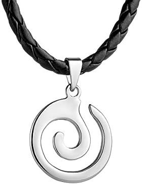 STERLL Herren Hals-Kette Leder Maori Koru Spirale Anhänger Silber 925 schwarz Schmuck-Beutel Geschenkideen für...