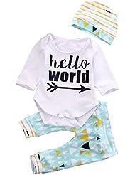 Amlaiworld Cartas de bebé Romper + Pant Geometría fijaron el equipo