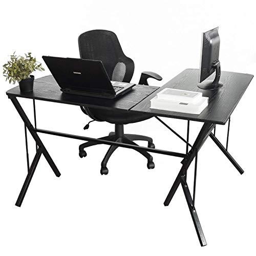 Aingoo Bureau d'angle en Forme de L, Poste de Travail Informatique pour Table d'ordinateur Portable pour Bureau à Domicile, Noir