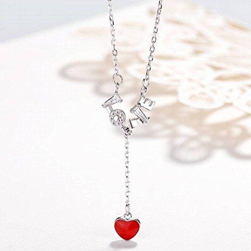 HOX S925 Silber Halskette Weibliche Liebe Rote Liebe Halskette Niedlichen Herzförmigen Schlüsselbein Kette Valentinstag Geschenk, Kettensätze