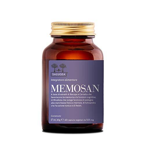 MEMOSAN Salugea - Integratore per la memoria e la concentrazione - 100{47ef037ff047a03d56b7218688b16bbb6fd39c3b66a672a0fe74824c6164da00} naturale con Bacopa, Schisandra, Reishi, Rhodiola e Centella - 60 capsule vegetali - Flacone in vetro scuro farmaceutico