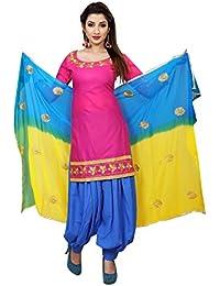 Spangel Fashion Pink Cotton Silk Salwar Suits/Patiyala Dress Material Suit For Women