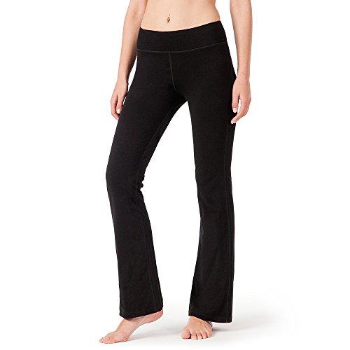 NAVISKIN Damen Yoga -und Jogginghose Bootcut mit Taschen schwarz(kurz) Größe M