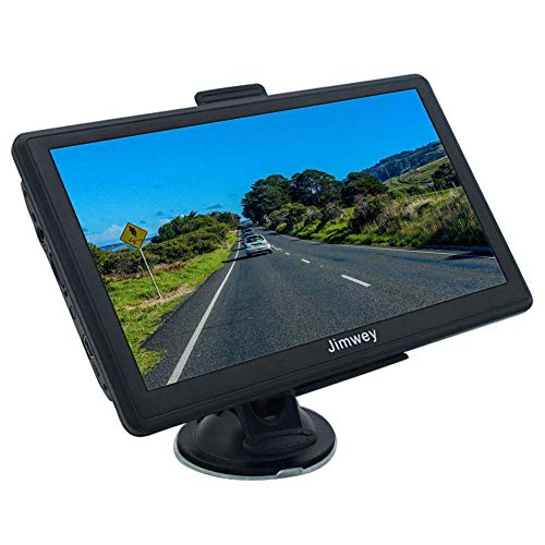 Jimwey GPS Navi Navigation für Auto LKW PKW KFZ 7 Zoll Navigationsgerät 8GB 256MB Lebenslang Kostenloses Kartenupdate POI Blitzerwarnung Sprachführung Fahrspurassistent 2018 EU UK 52 Karten