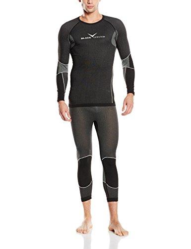 Black crevice - set di biancheria intima sportiva, uomo, nero/ grigio, l/xl