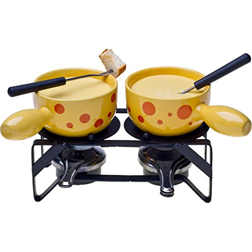 Nouvel Käsefondue Set für 2 Personen - Hochwertiges 10-teiliges Fondueset Käse - «Duo Formaggio»Schweizer Stil - 2x Caquelon & Doppel-Rechaud/Einzelfondue