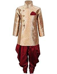JBN Creation Boys Cotton Silk Sherwani Suit With Patiala Style Cowl Dhoti Pant (Gold_VASBSW121MA)