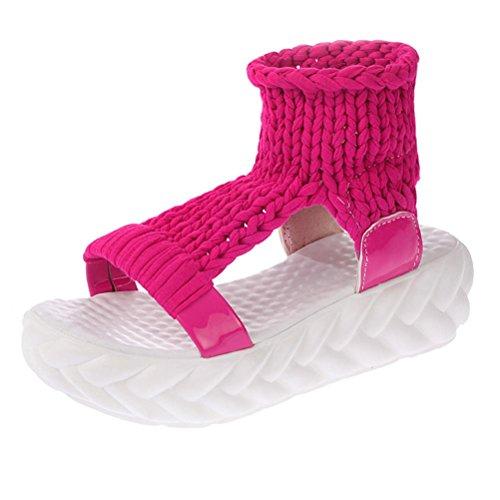 Taste Pumpe (FNKDOR Damen Sandalen Plateau Schuhe Gestrickte Damenschuhe Sandaletten(36,Rosa))