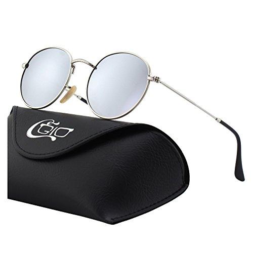 CGID Retro Vintage Sonnenbrille, inspiriert von John Lennon, polarisiert mit rundem Metallrahmen, für Frauen und Männer E01, A Silber Silber, L