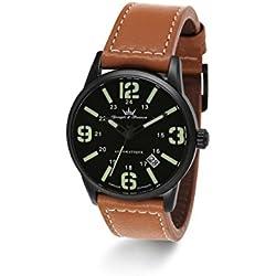 Yonger & Bresson-YBH 8351-88X-Trem-Watch Men-Automatic-black dial-Analogue Brown Leather Strap