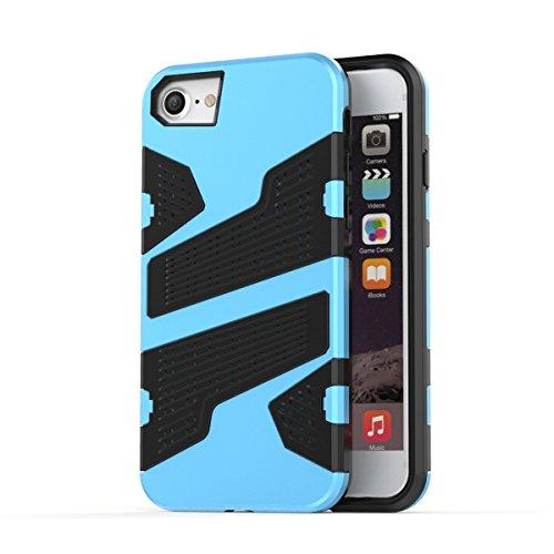 """iPhone 7 Hülle, HICASER Hybrid Shock Proof TPU Case Mesh PC Bumper Frame Handytasche Schutzhülle für iPhone 7 4.7"""" Blau Hellblau"""