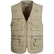 JZWXX Hommes Coton Militaire Bomber Relaxed Distressed multi-pocket outdoor travel Vest Sports Jacket