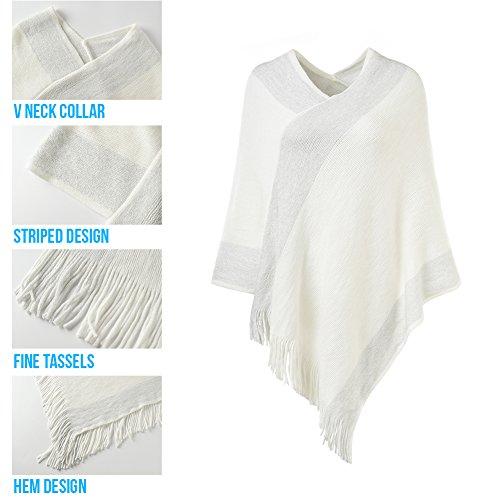 Ferand stylischer gestrickter Poncho Pullover mit Streifen, V-Ausschnittund Fransen für Frauen Weiß