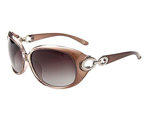 BVAGSS Mode Plaid Damen Sonnenbrille polarisiert 100% UV-Schutz (Champagne Frame With Champagne Lens)