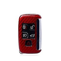 M.JVisun Kohlefaser-Gehäuse für Land Rover-Schlüsselanhänger, echte Kohlefaser-Abdeckung für Land Rover Discovery Sport Discovery 4 Freelander 2 Range Rover Evoque Smart Fob Key - Rot