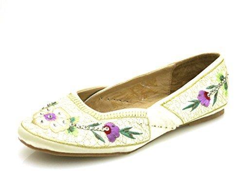 His Ballerine estate scarpe donna ricamato Crema NERO 1773 Beige (Crema)