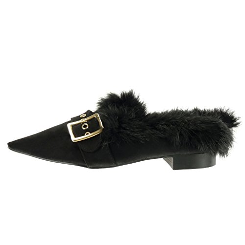 Angkorly Chaussure Mode Mocassin slip-on Femme fourrure boucle doré Talon bloc 2 CM Noir