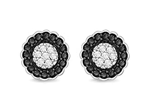 Pavé Privé Sterling Silver with White and Black Diamonds Stud Earrings