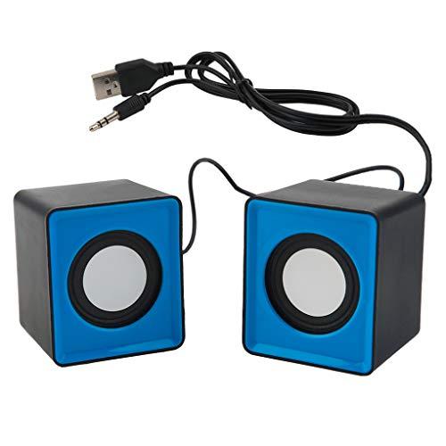 Kongnijiwa PRENKIN 2ST USB Mini Quadrat Lautsprecher Handy Audio Compact Computer kleine Desktop Laptop Lautsprecher 3.5MM Jack