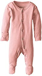 Lovedbaby Unisex-Baby Organic Cotton Footed Overall, Coral, Newborn (up to 7 lbs.)