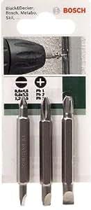 Bosch 2609255959 Set de 3 embouts de tournevis doubles 1 x plat 4,5 + PH1, 1 x plat 5,5 + PH2, 1 x plat 6,5 + PH3