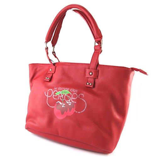Bag designer 'Le Temps Des Cerises'rosso - 45x27x15 cm.